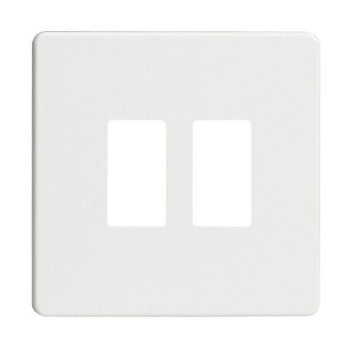 Varilight XDQPGY2S Screwless Premium White 2 Gang Grid Plate (Single Plate)